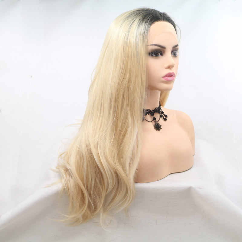Natural Blonde Mix Color Long Wavy Wig USW067