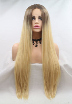 Silky Straight Ombre Brown to Blonde Wig  USW112