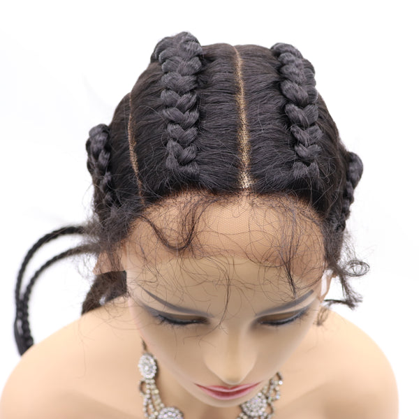 4 Black Braids Long Lace Front Wig Box Braids Synthetic Lace Front Wig Cornrow Braids Hair UWS128