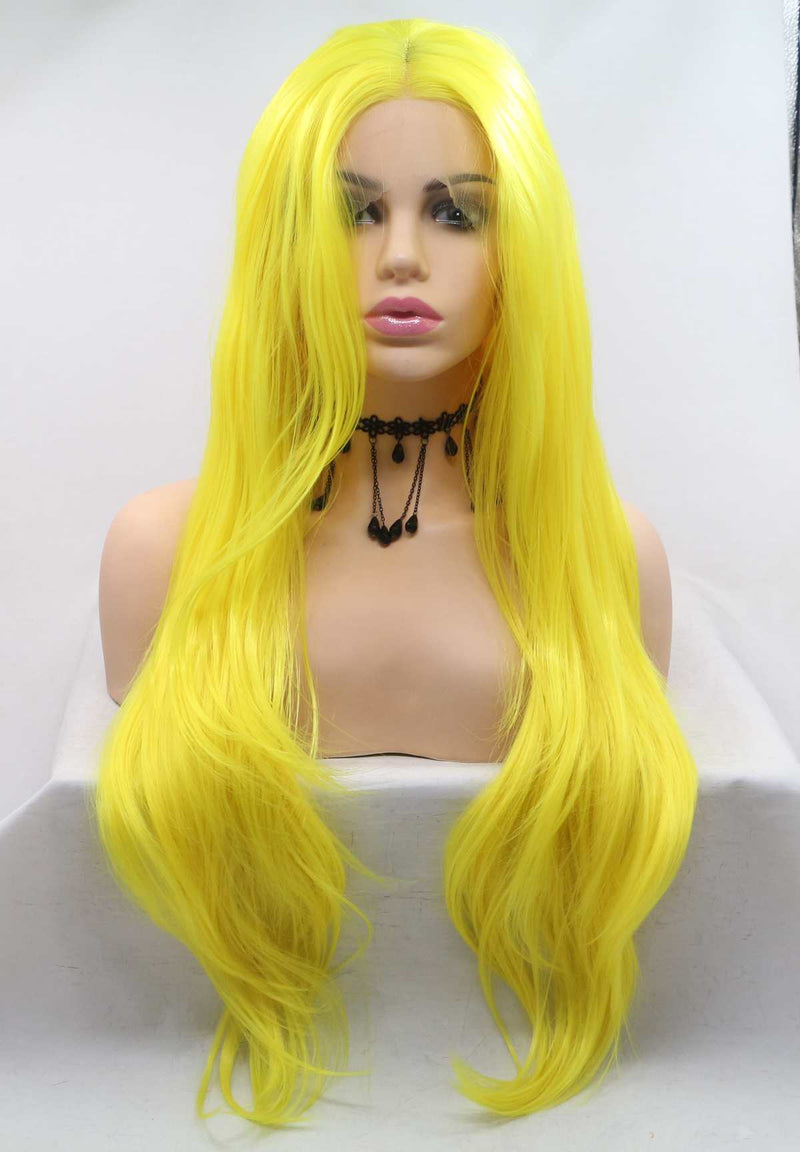Yellow Wavy Synthetic Wig USW096