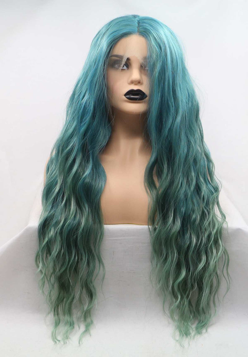 Long Curly Green Synthetic Wig USW103