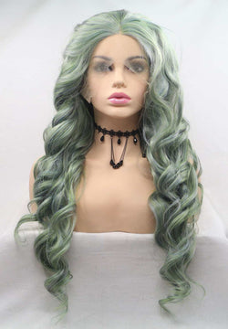 Dark Green Curly KANEKALON Synthetic Wig USW125