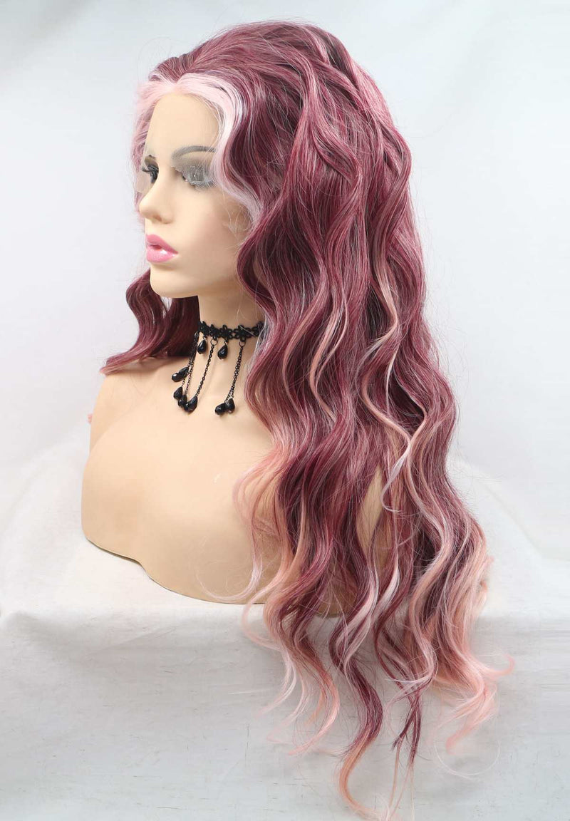 Red Pink  KANEKALON Synthetic Wig USW123