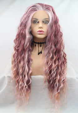 Red Pink Curly KANEKALON Synthetic Wig USW124