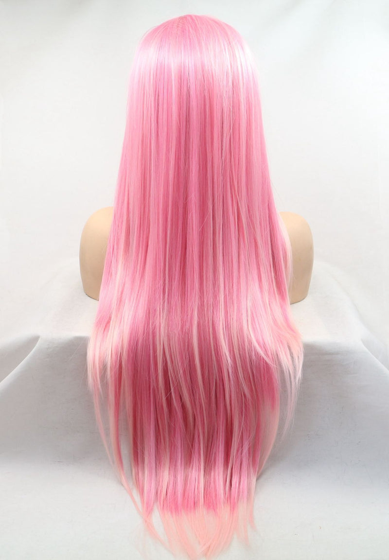 Pink Cosplay Wig Side Part Kanekalon Fiber USW113
