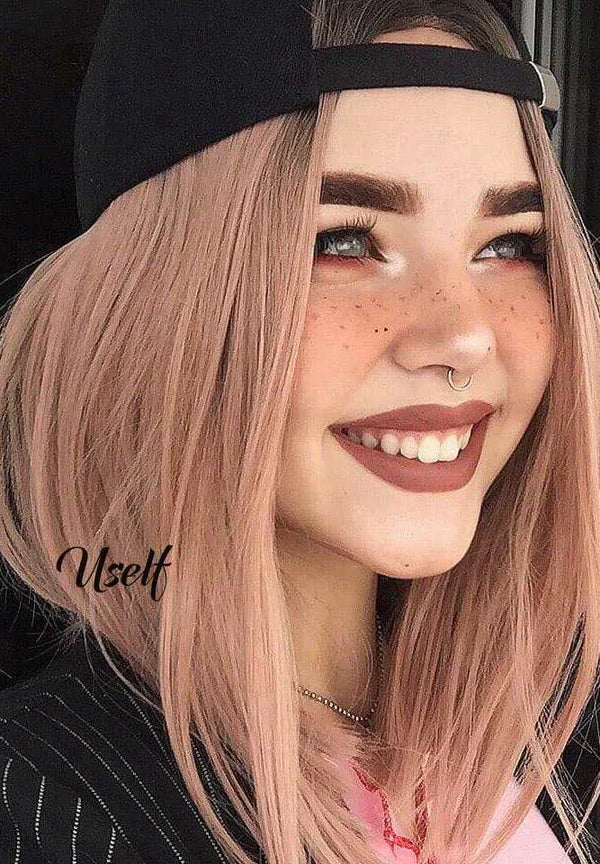 Summer Short Rose Gold Bob Wig USW087