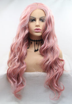 Rose Gold Pink Hair Curly Kanekalon Wig USW115