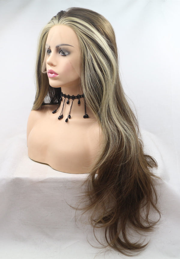 Natural Brown Wavy Kanekalon Wig USW134
