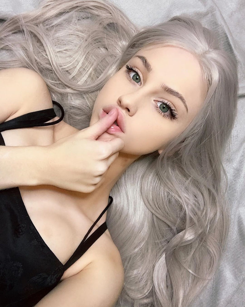Cat Girl Platinum Silver Gray Straight Wig  USW025