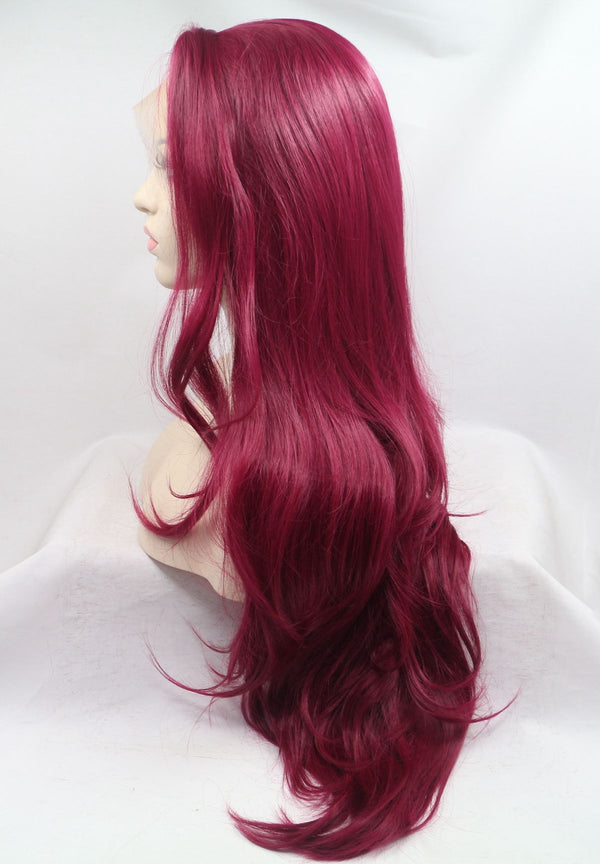 Ariel Synthetic Lace Front Red Wig Side Part  USW098
