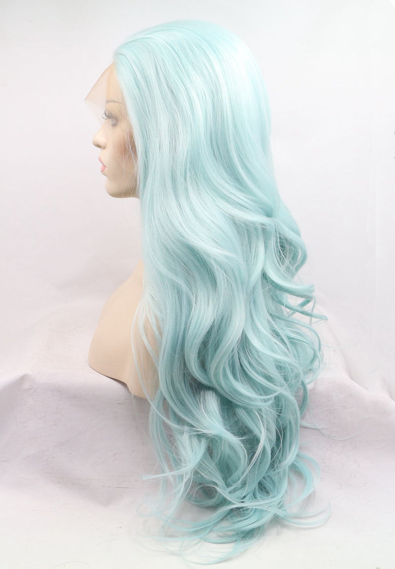 Sea Blue Mermaid Wig Makeup Girl Hairstyle USW078
