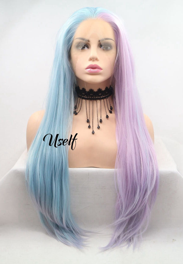 Piano Color Blue Pink Girl Hair Straight Wig USW074