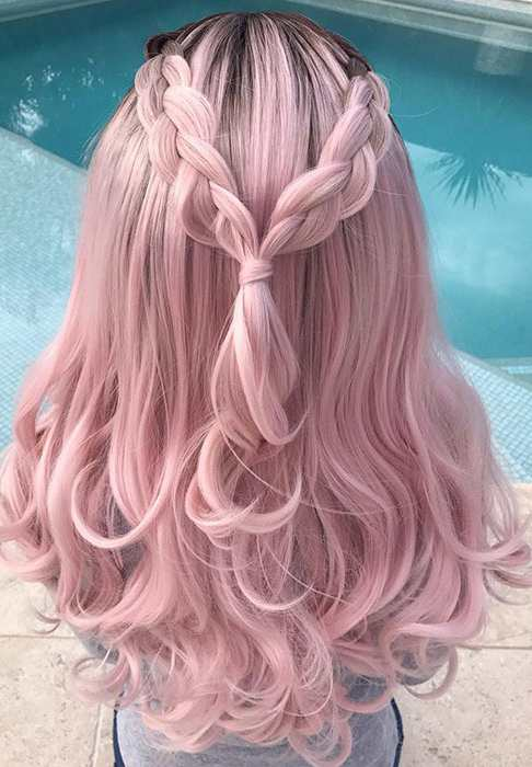 Lovely Pink Girl Hair Wig USW056