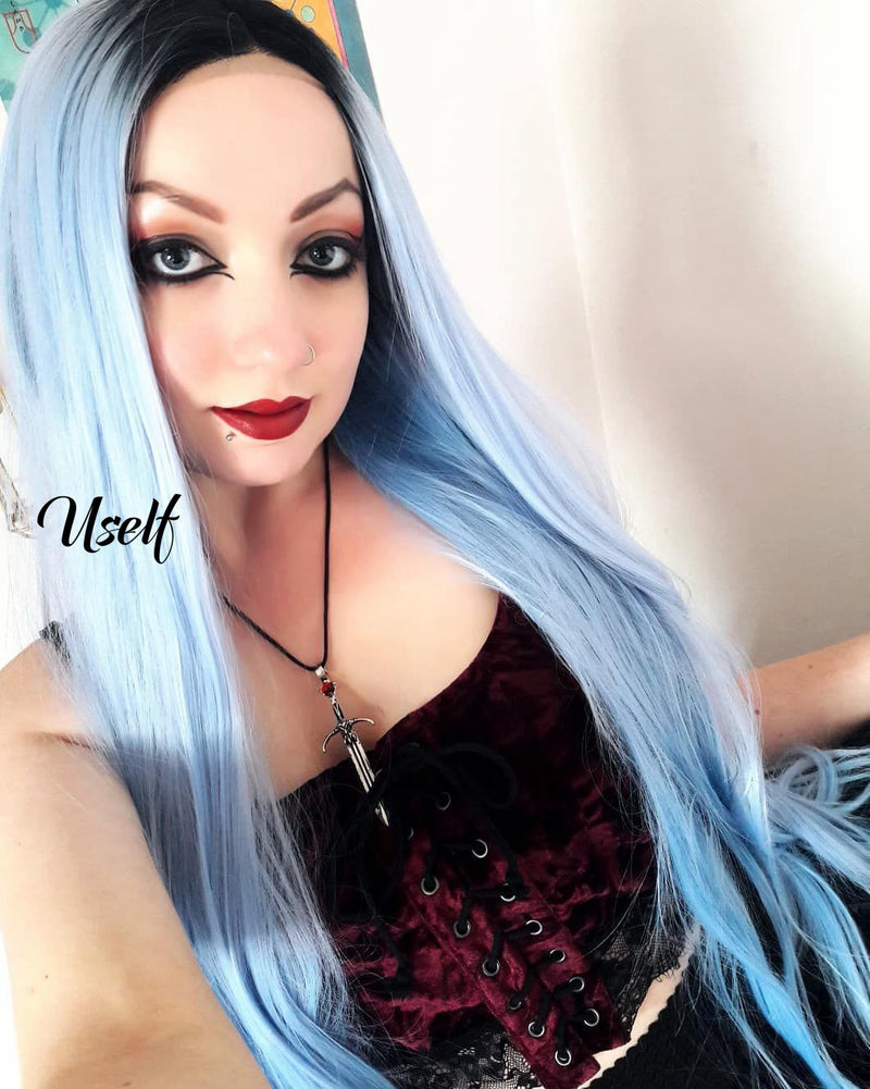 Sky Blue Straight Synthetic Wig USW085