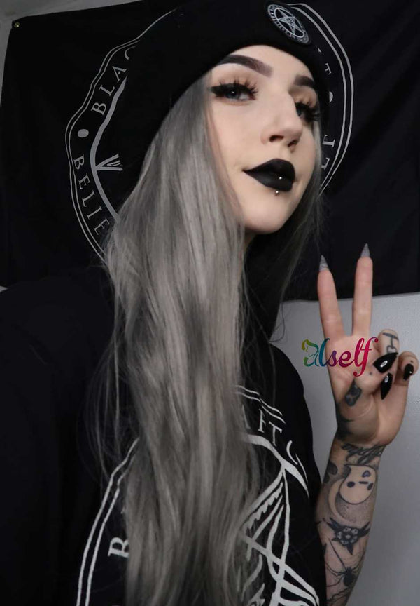 Aletta Smoke Grey Natural Straight Wig  USW04