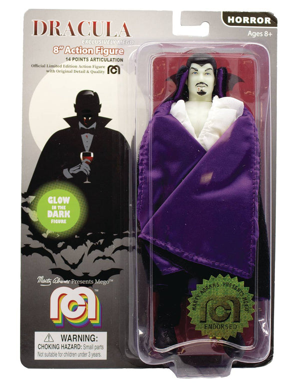 Mego Horror Wave 6 Dracula Purple Cape Glow in the Dark 8in AF - State of Comics