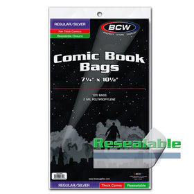 BCW Regular Silver Resealable Comic Bags
