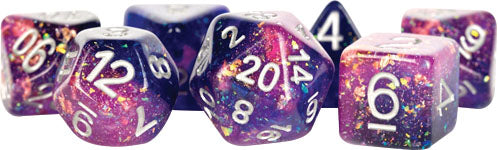16mm Eternal Resin Polyhedral Dice Set: Purple/Blue (7) - State of Comics