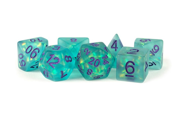 Icy Opal Resin: 16mm Dice Poly Set Teal/Purple Numbers (7) - State of Comics