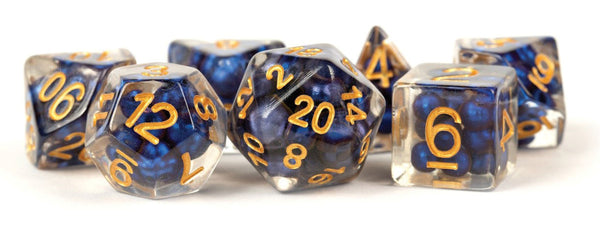 Pearl Resin 16mm Poly Dice Set: Royal Blue/Gold Numbers (7) - State of Comics