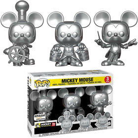 POP! Disney Mickey Mouse 90 Years Exclusive Silver 3-Pack Funko Pop (*Box Damage 9/10)