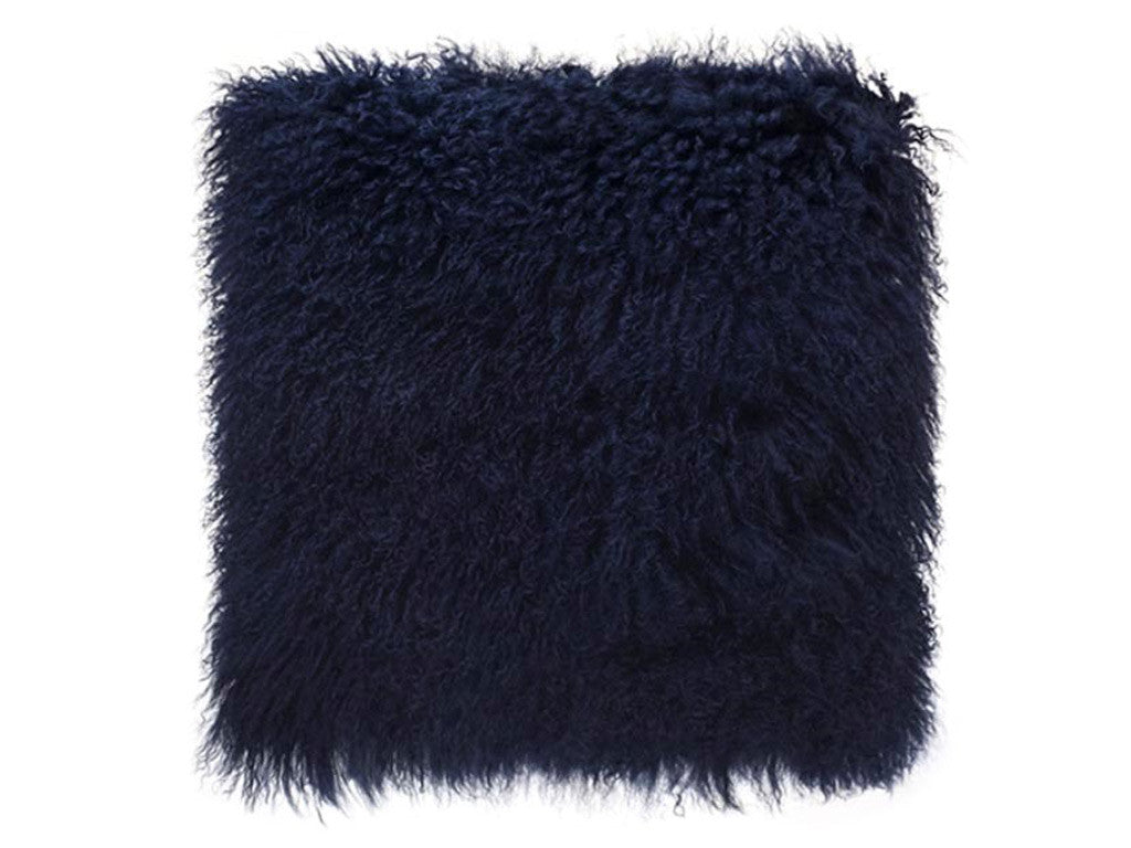 Tibetan Fur Cushion / Navy