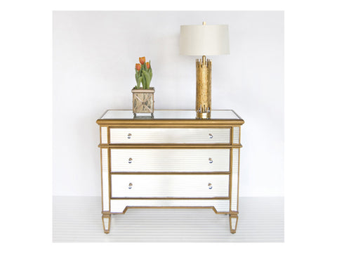 Cary Chest / Gold & Mirrored