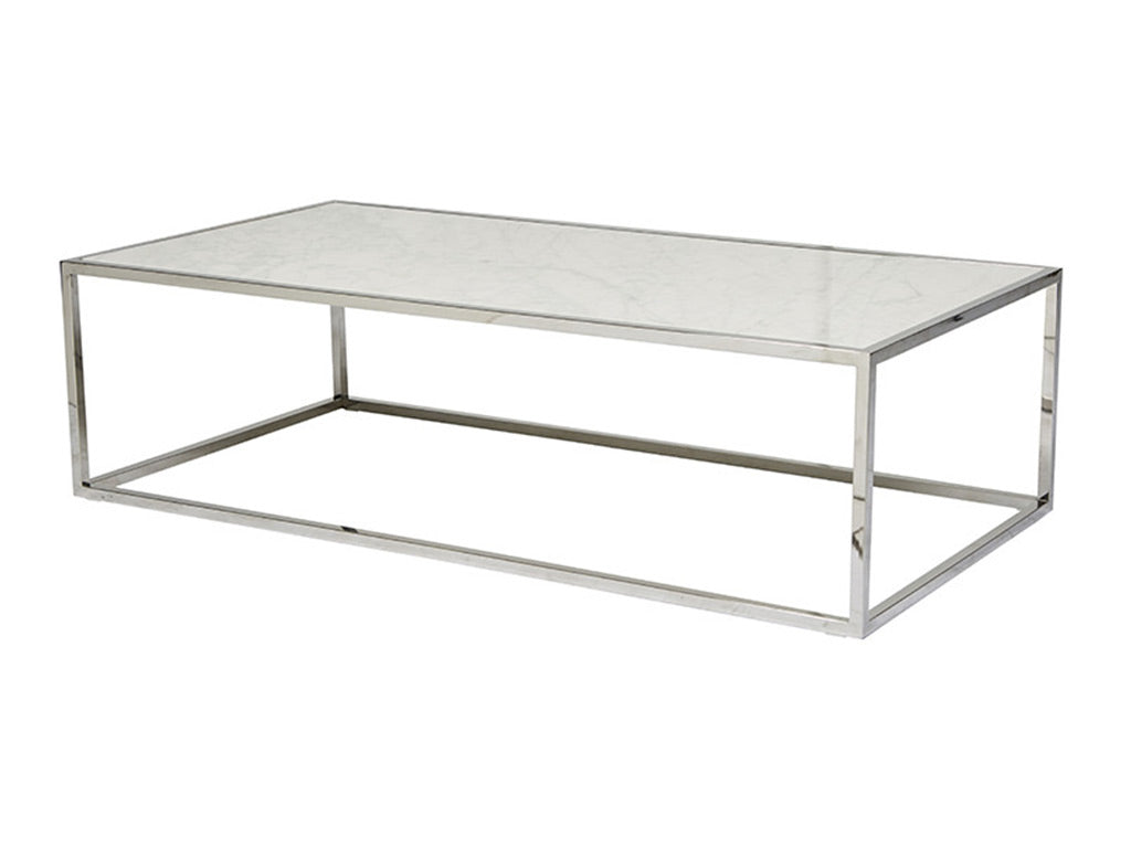 Westley Marble Coffee Table / Silver & White