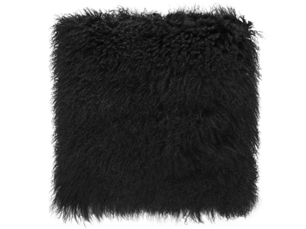 Tibetan Fur Cushion / Black