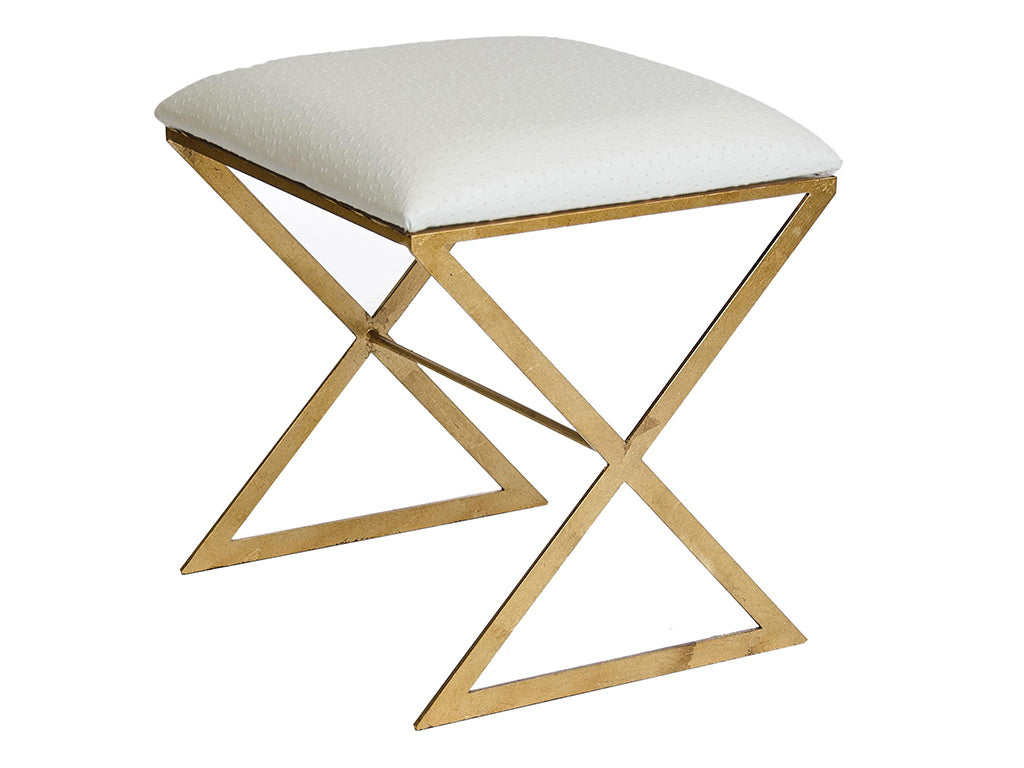X Stool / Gold & White Leather