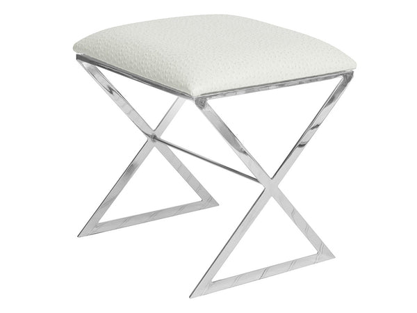 X Stool / Silver & White Leather