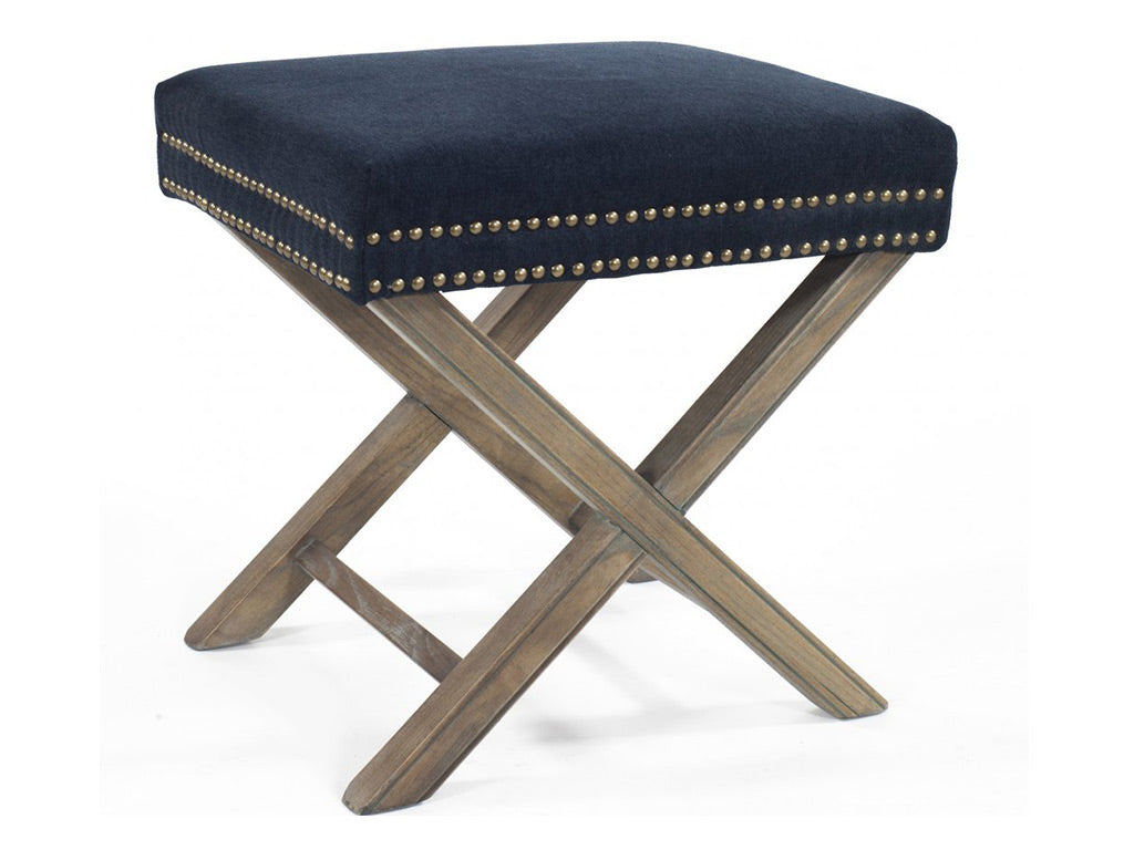 Olympia Low Stool / Navy Linen