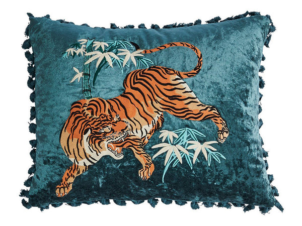 Tiger Cushion / Teal