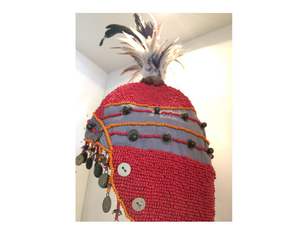 Red Beaded Tribal Hat with Coins