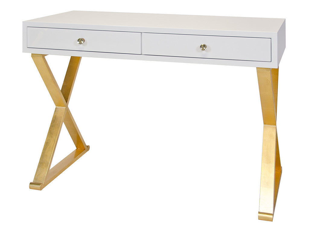 White And Gold Desk Computer Desk Metal
