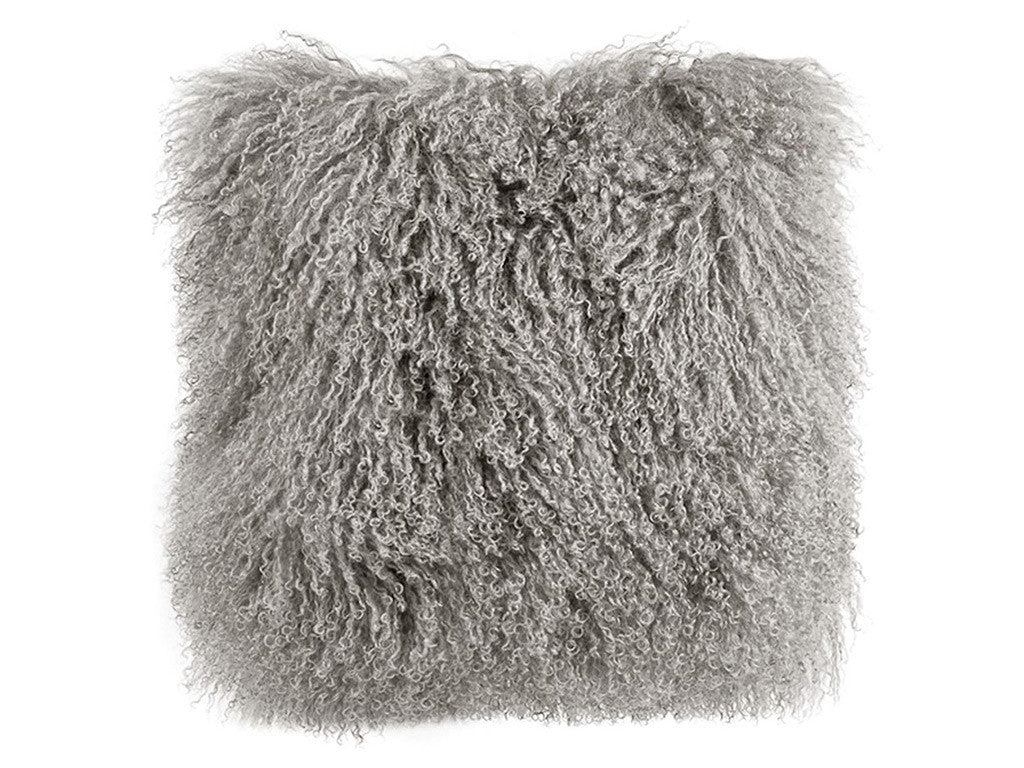 Tibetan Fur Cushion / Grey