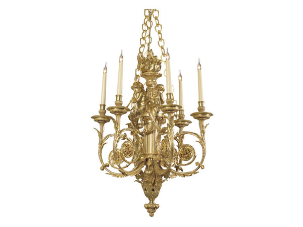 Louis XVI Style Gilt-Bronze Cherub Six-Light Chandelier