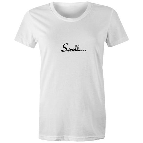 Womens White Scroll Anti Online Trolling Organic Crew Tee