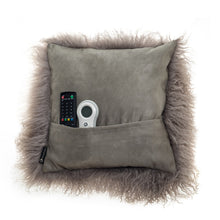 Load image into Gallery viewer, Grey Mongolian Lambswool Cushion 40cm deLadonica