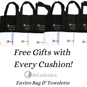 free gift, gift idea, floor cushion, enviro bag, towel, towelette, deladonica,lambswool cushion, lambswool,