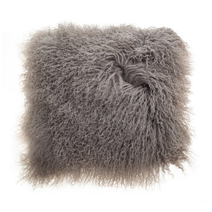 Grey Mongolian Lambswool Cushion 40cm deLadonica