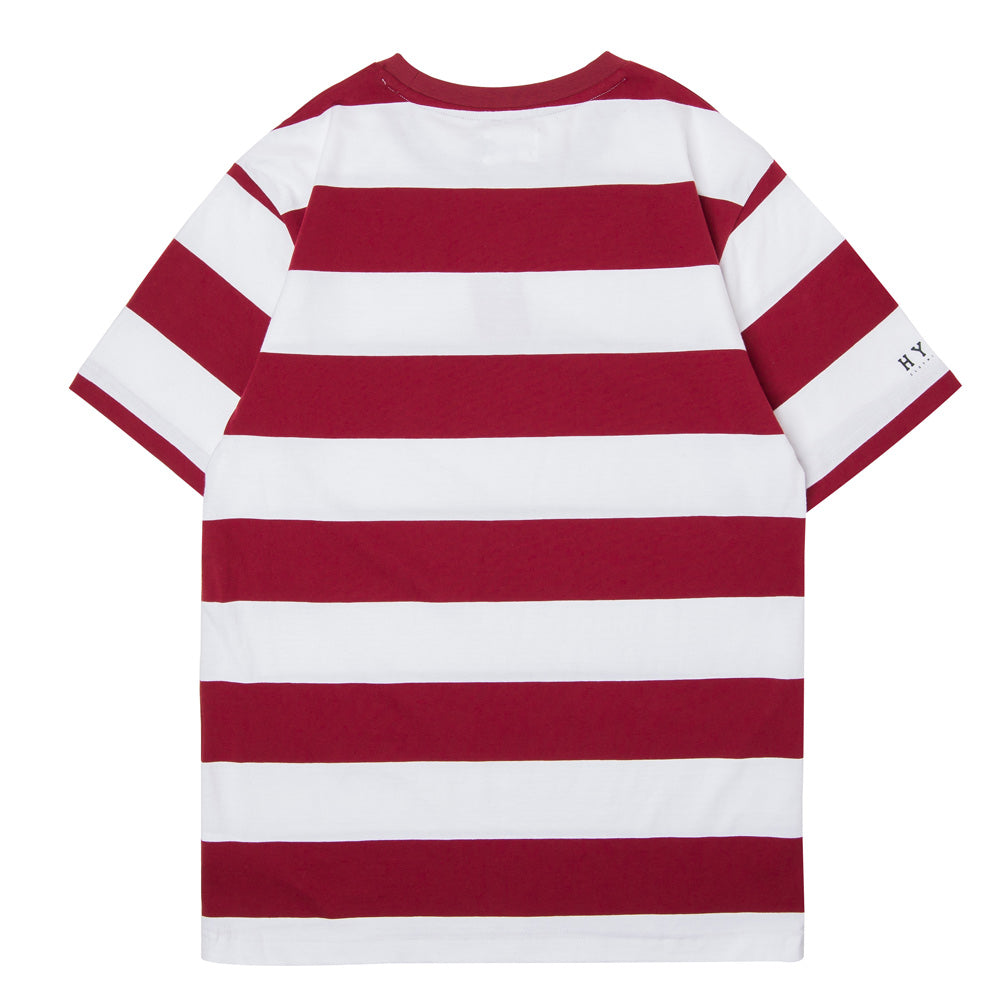 Basic Stripe Short Sleeve Tee | White/Maroon