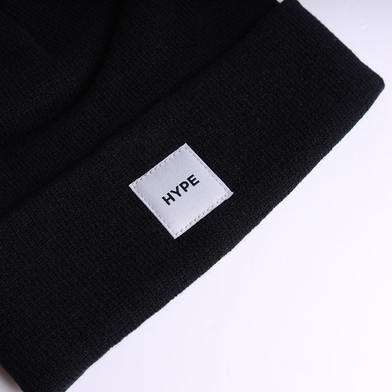 Signature Square Label Beanie | Black