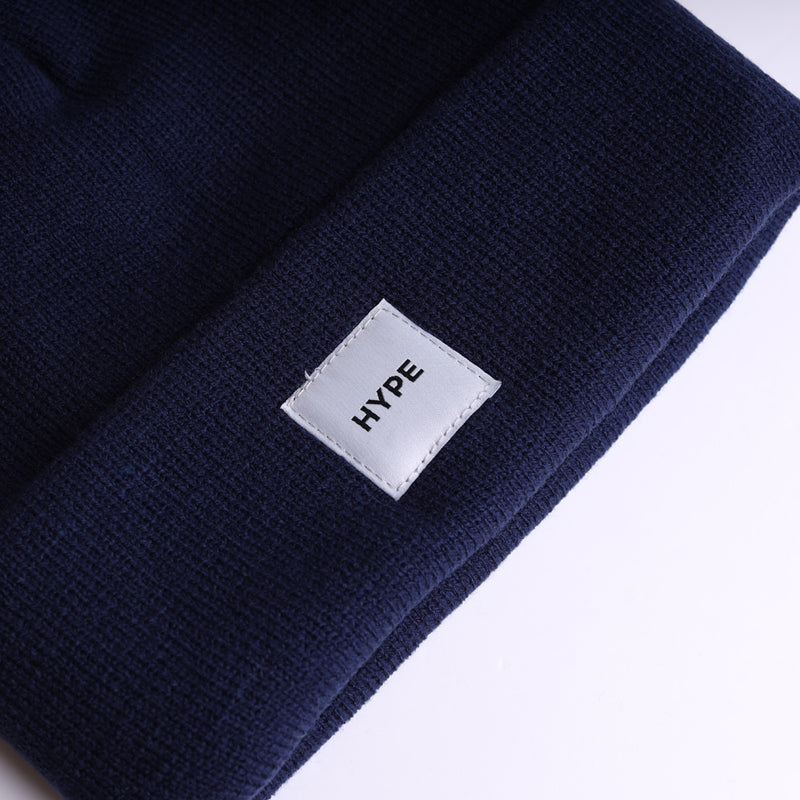 Signature Square Label Beanie | Navy