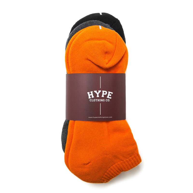 3 In 1 Ankle Socks | Black/Grey/Orange