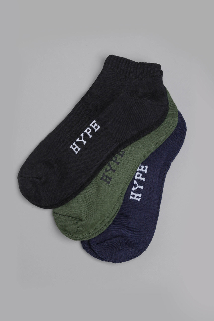 3 In 1 Ankle Socks | Black/Olive/Navy