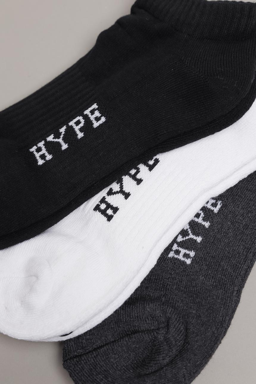 3 In 1 Ankle Socks | Black/White/Grey