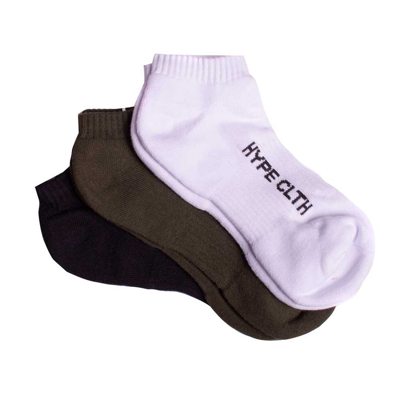 3 In 1 Ankle Socks | Black/White/Olive