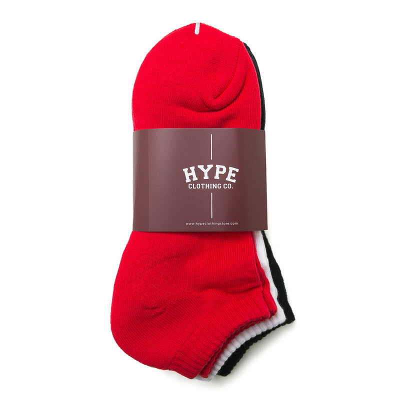 3 In 1 Ankle Socks | Black/White/Red