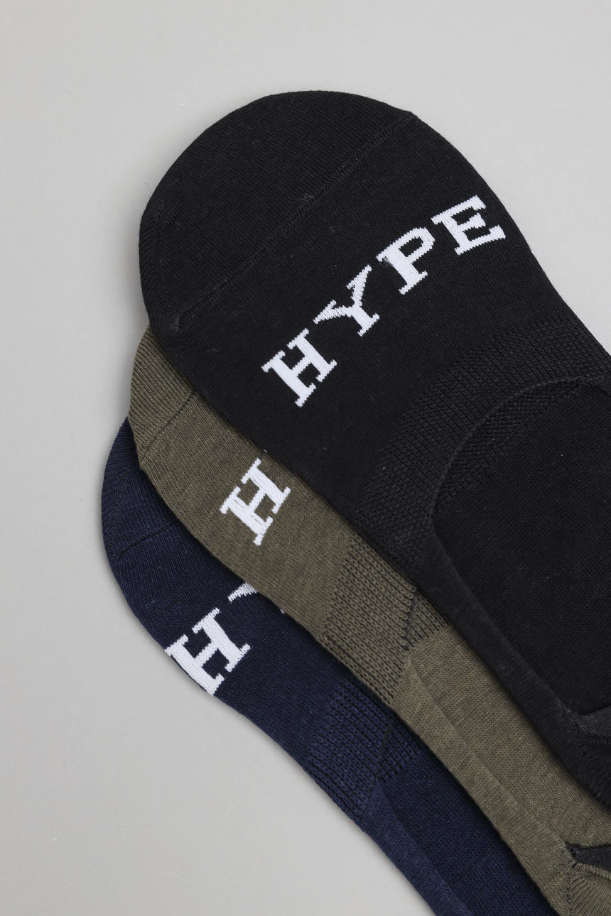 3 In 1 Invisible Socks | Black/Olive/Navy